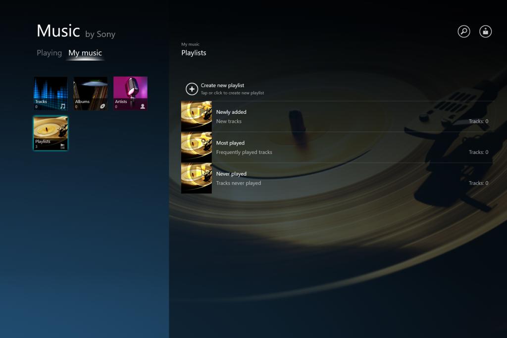 "Windows App""Music by Sony"""