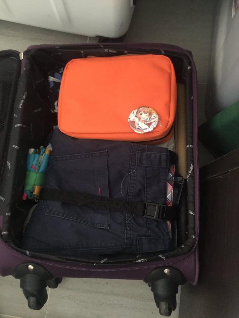 简单说一下:这里面装着的分别是一个环保袋,一堆衣服,一双棍(打太鼓用的),以及一个袋子(里面装着一堆大法)