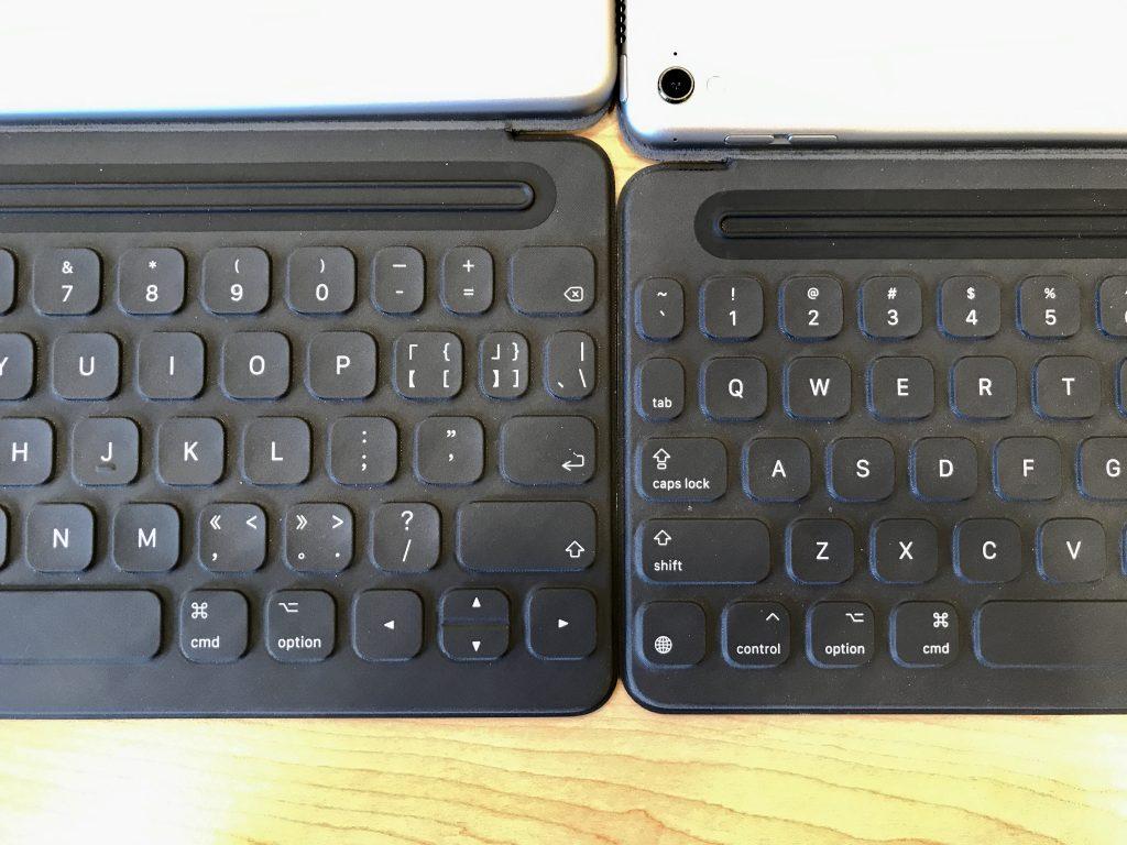 iPad Pro的10.5英寸版本(左)与9.7英寸版本键盘尺寸对比