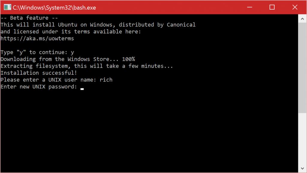 (老版Windows 10)设置与安装Linux Bash