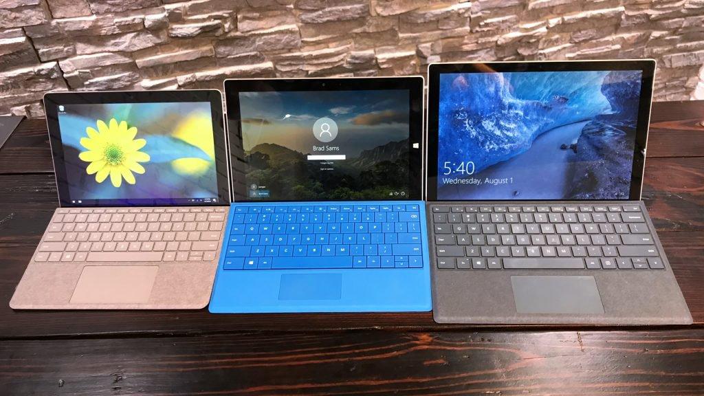 屏幕大小对比:左Surface Go,中Surface 3,右New Surface Pro