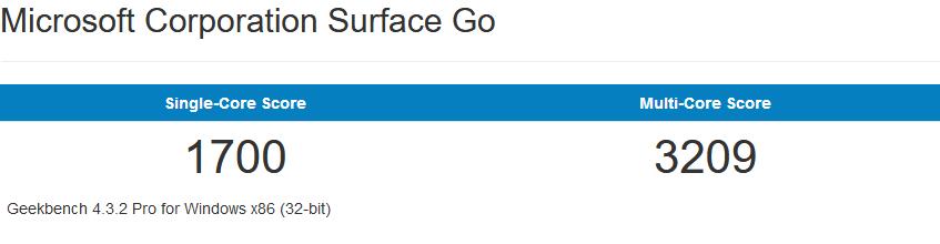Surface Go的32bit跑分成绩