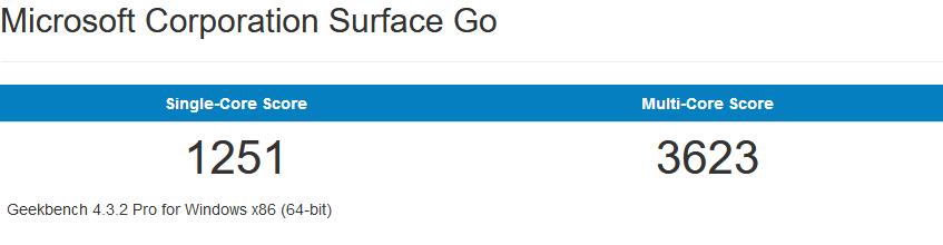 Surface Go的64bit跑分成绩