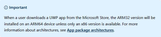 微软开发文档中对UWP应用在ARM系统上安装情况说明