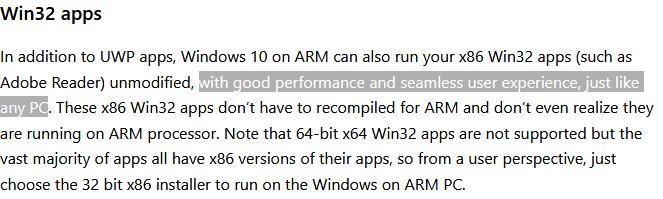 微软对ARM设备运行Win32程序的说明
