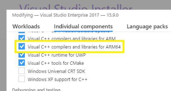 Visual Studio安装ARM64编译器和库