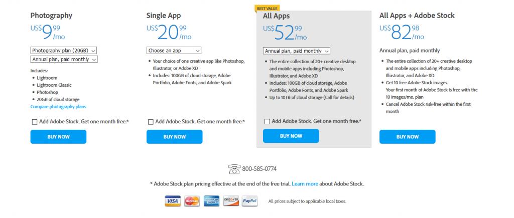 Adobe全家桶美区订阅价格